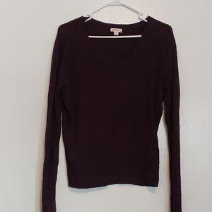 Eggplant purple cable knit v-neck sweater